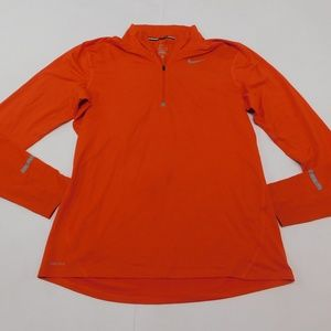Nike Dri Fit M Orange 1/4 Zip Shirt Active Poly Bl